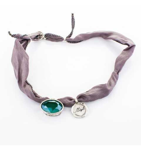 Srebrna bransoletka MOTYLE antyczne srebro oksydowana z Kryształem Swarovskiego Mint Green