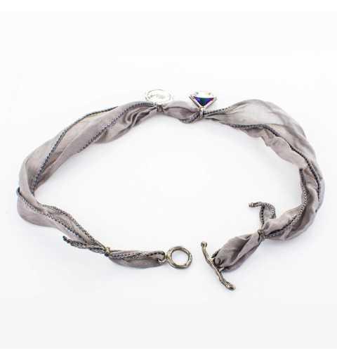 Srebrna bransoletka MOTYLE czarny rod 24 k grafitowy blask z Kryształem Swarovskiego Crystal Berm Metal Blue