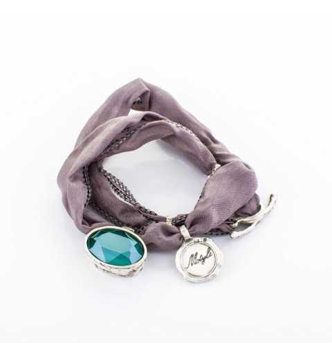 Srebrna bransoletka MOTYLE antyczne srebro oksydowana z Kryształem Swarovskiego Mint Green MJS3062