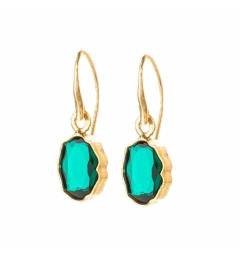 Srebrne kolczyki MOTYLE złocone królewskim złotem 24 k z zielonymi Kryształami Swarovskiego Emerald MGA4521