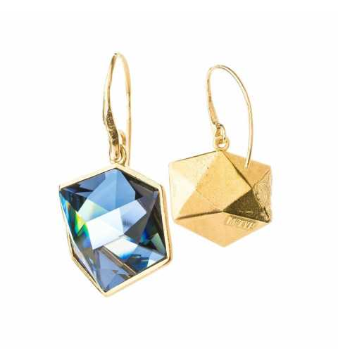 Srebrne kolczyki MOTYLE złocone królewskim złotem 24 k z Kryształami Swarovskiego Crystal Sahara