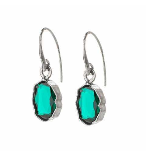 Srebrne kolczyki MOTYLE czarny rod 24 k grafitowy blask z zielonymi Kryształami Swarovskiego Emerald