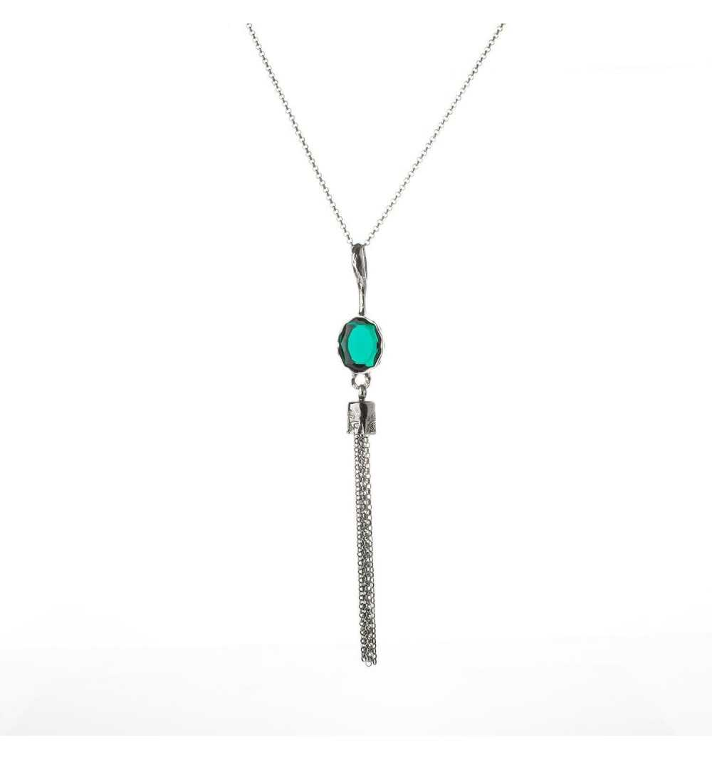 Srebrny naszyjnik MOTYLE czarny rod 24 k grafitowy blask z zielonym Kryształem Swarovskiego Emerald