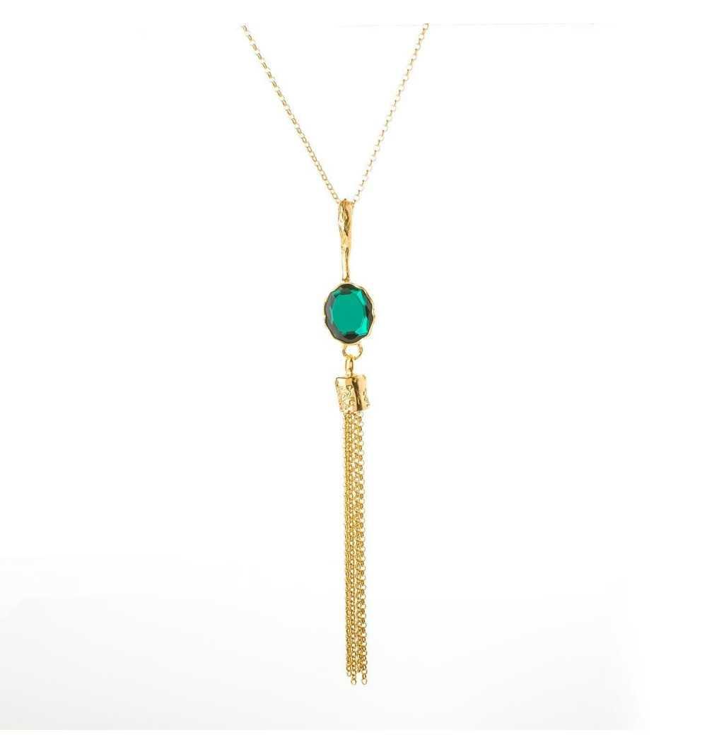 Srebrny naszyjnik MOTYLE złocony królewskim złotem 24 k z zielonym Kryształem Swarovskiego Emerald