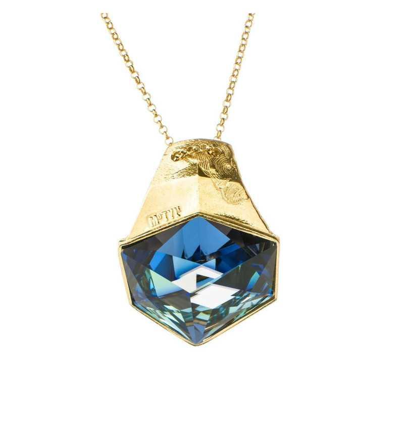 Srebrny naszyjnik MOTYLE złocony królewskim złotem 24 k z Kryształem Swarovskiego Crystal Sahara