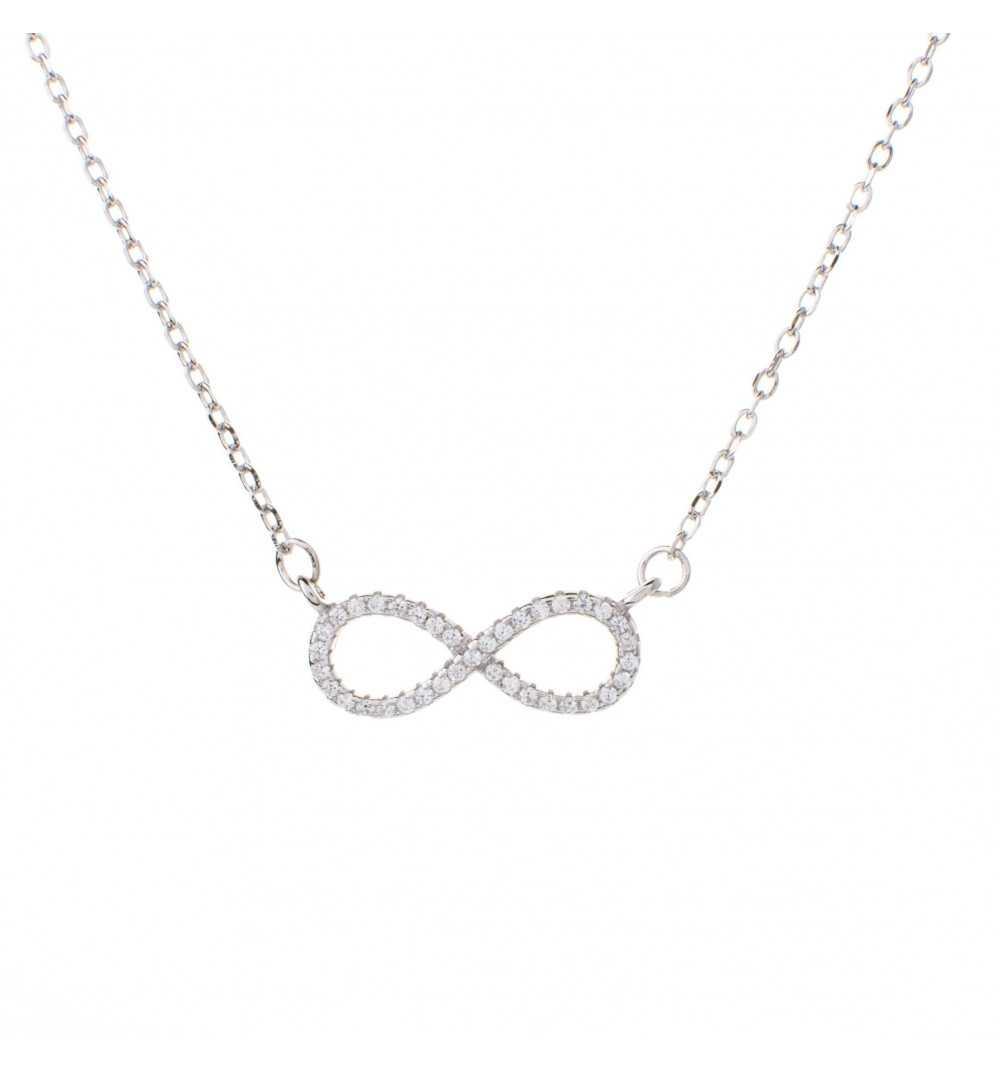 Srebrny naszyjnik symbol nieskończoności wysadzany białymi cyrkoniami