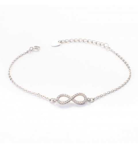 Srebrna bransoletka z symbolem nieskończoności wysadzana białymi cyrkoniami