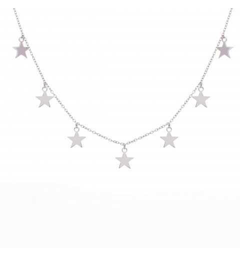 Srebrny choker łańcuszkowy z gwiazdkami