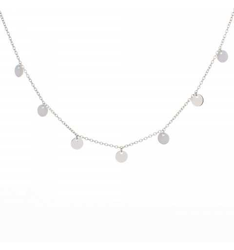 Srebrny choker łańcuszkowy ze srebrnymi pchełkami