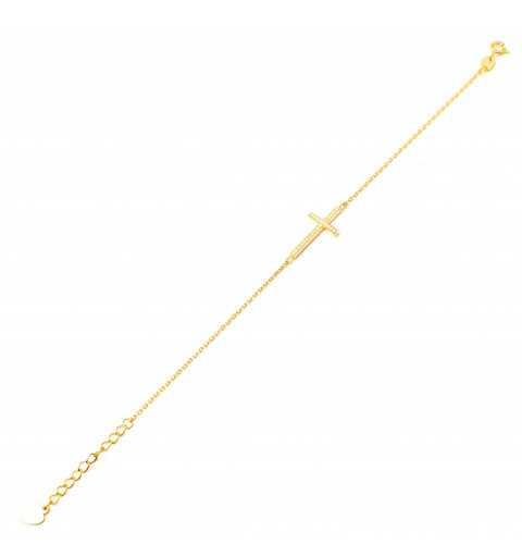 Pozłacana srebrna bransoletka z krzyżykiem z cyrkoniami
