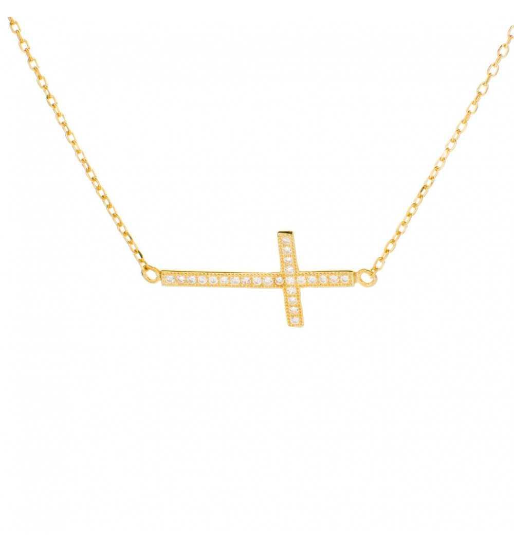 Pozłacany srebrny naszyjnik z krzyżykiem z cyrkoniami