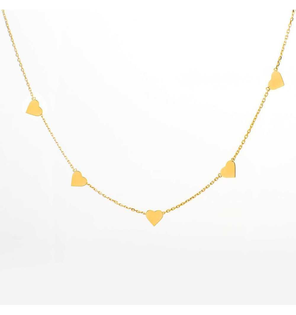 Złoty naszyjnik celebrytka z serduszkami