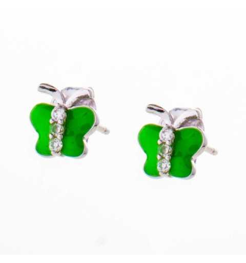 Srebrne dziecięce kolczyki zielone motylki