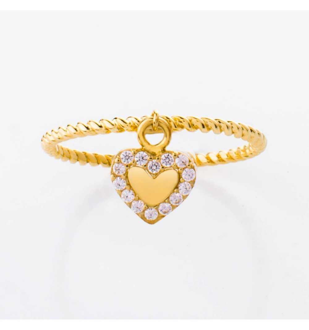 Złoty pierścionek z charmsem serduszko