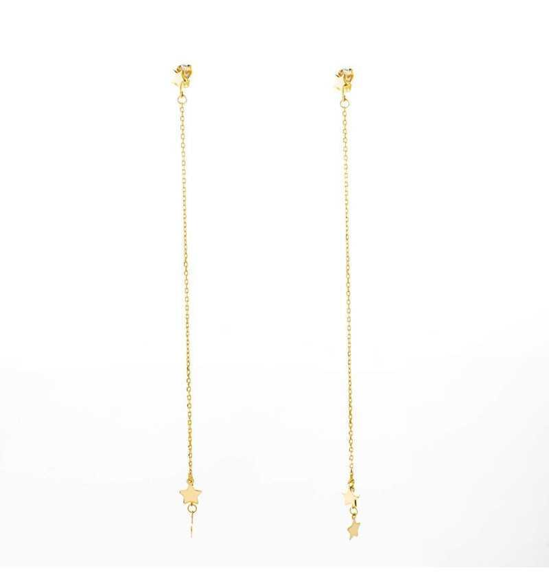 Złote długie wiszące kolczyki gwiazdki