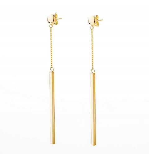 Złote kolczyki długie pałeczki