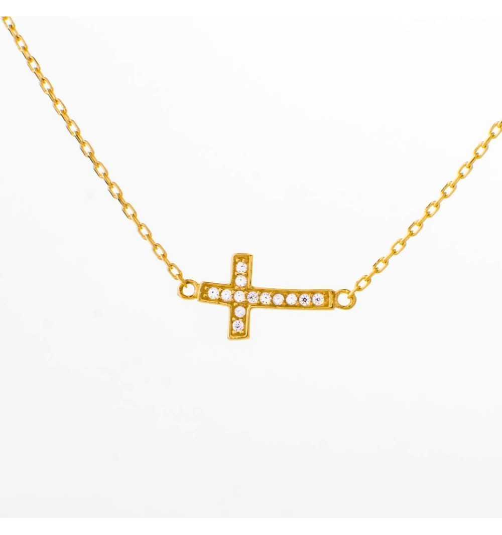Złoty naszyjnik celebrytka krzyżyk z cyrkoniami
