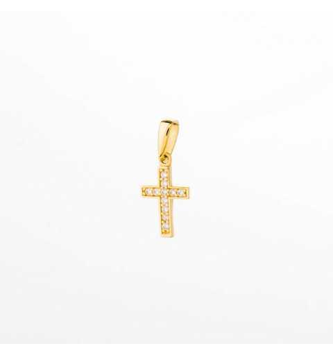 Złota zawieszka drobny krzyżyk z cyrkoniami