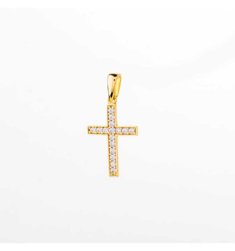Złota zawieszka krzyżyk z cyrkoniami