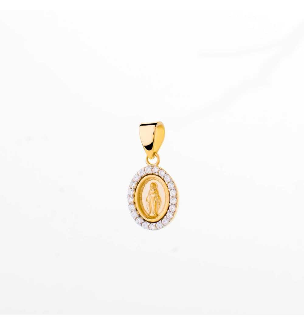 Złoty medalik owalny z wizerunkiem Matki Boskiej Niepokalanej