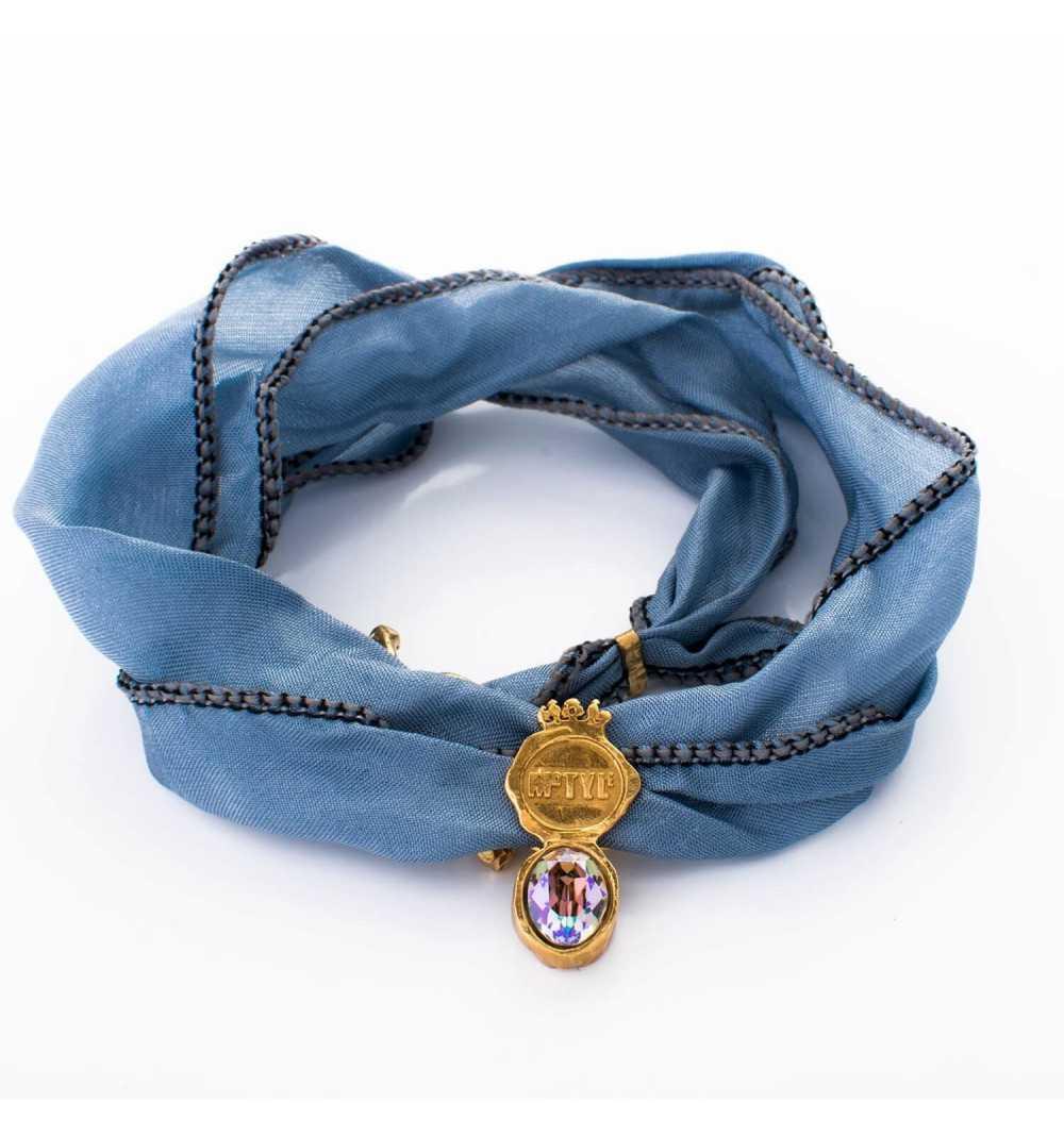 """Srebrna bransoletka MOTYLE z jedwabiu królewskie złoto 24 k z kryształem Swarovskiego """"Multicolor"""""""