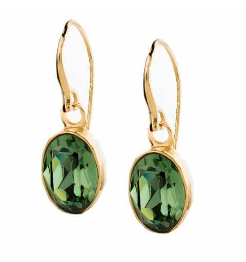 Srebrne kolczyki MOTYLE na biglu pokryte 24karatowym złotem z zielonymi Kryształami Swarovskiego Ernite MB4002