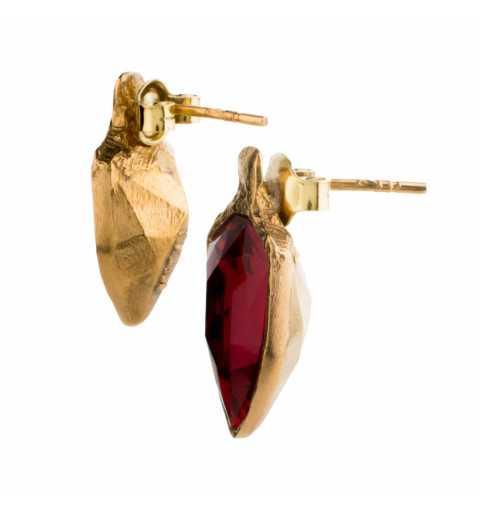 Srebrne kolczyki MOTYLE złocone 24karatowym złotem z Kryształami Swarovskiego Scarlet w kolorze rubinu MG4535