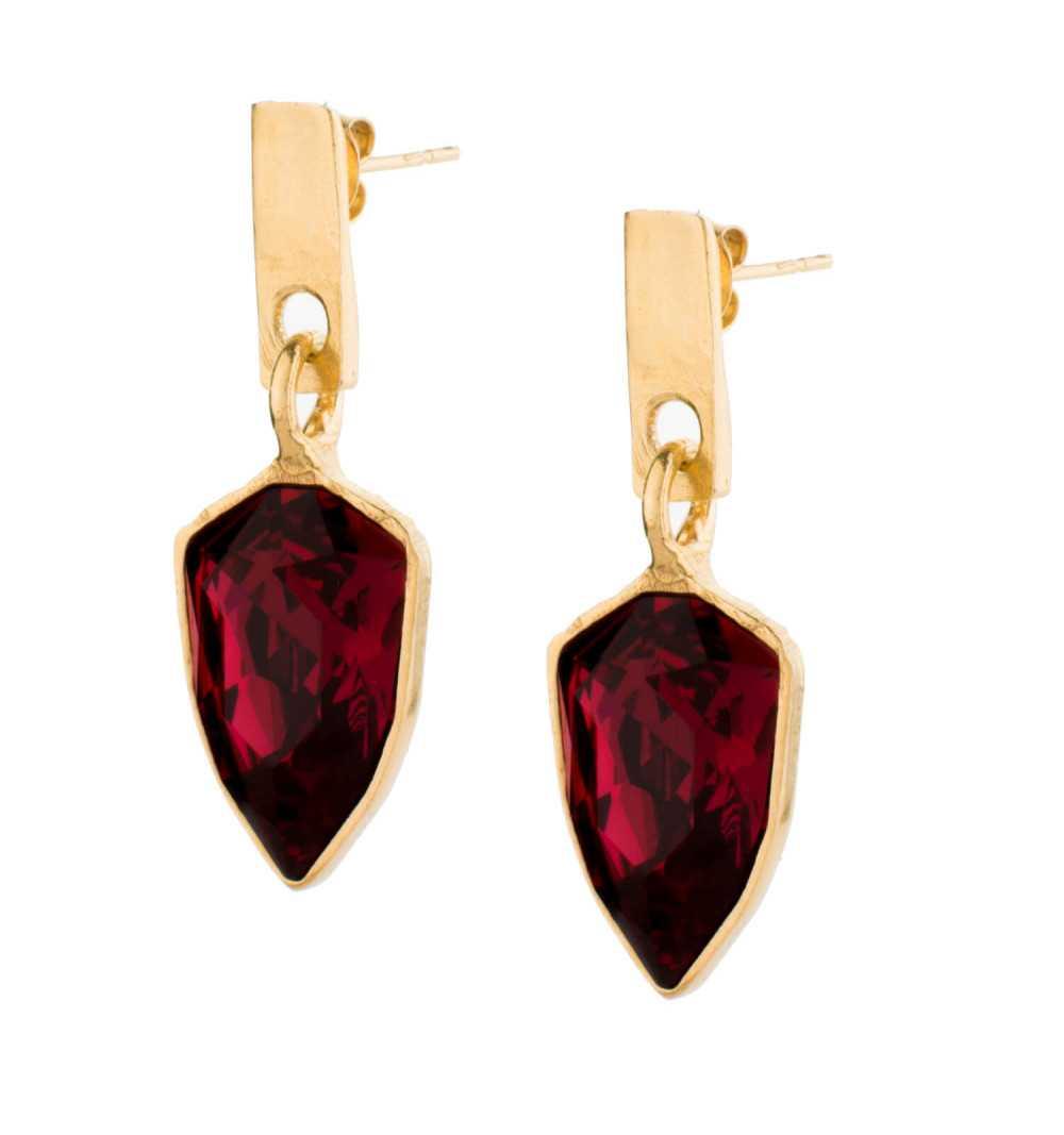 Wiszące srebrne kolczyki MOTYLE złocone królewskim 24karatowym złotem z rubinowymi Kryształami Swarovskiego Scarlet MG4537