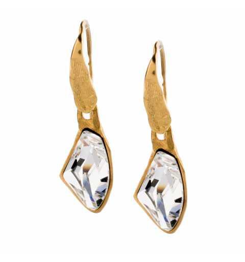 Srebrne kolczyki MOTYLE pokryte 24karatowym złotem z Kryształami Swarovskiego Crystal MG4542