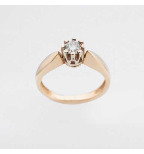 Złoty pierścionek z brylantem 0,25ct