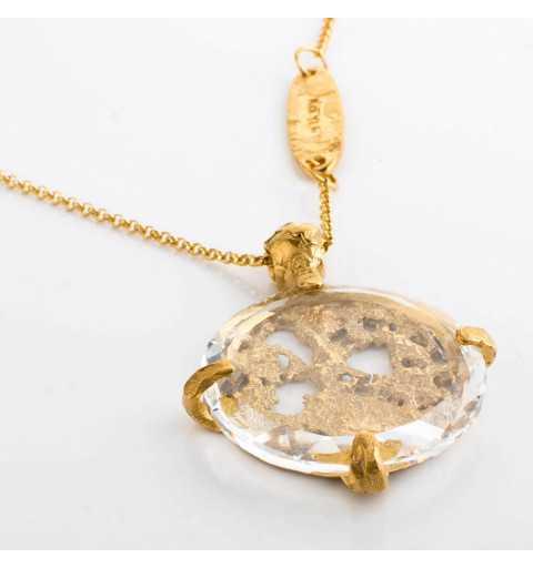 Srebrny naszyjnik MOTYLE złocony królewskim 24karatowym złotem z Kryształem Swarovskiego Crystal MG2534