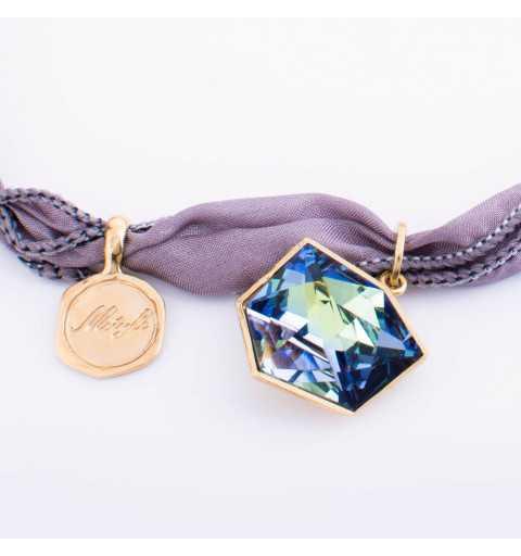 Srebrna bransoletka MOTYLE MJG3063 złocona 24karatowym złotem z Kryształem Swarovskiego Crystal Sahara na jedwabiu