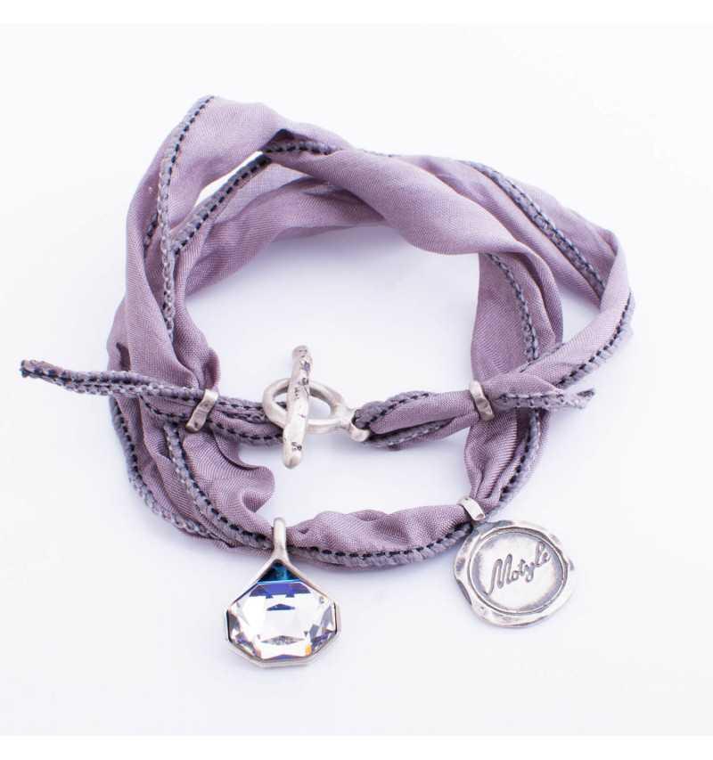 Srebrna bransoletka MOTYLE wykonana z naturalnego jedwabiu z Kryształem Swarovskiego Crystal Berm Metal Blue MJS3064
