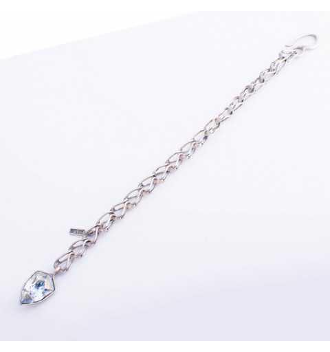Srebrna bransoletka MOTYLE w kolorze antycznego srebra oksydowana z kryształem Swarovskiego Blue Shade MS3537