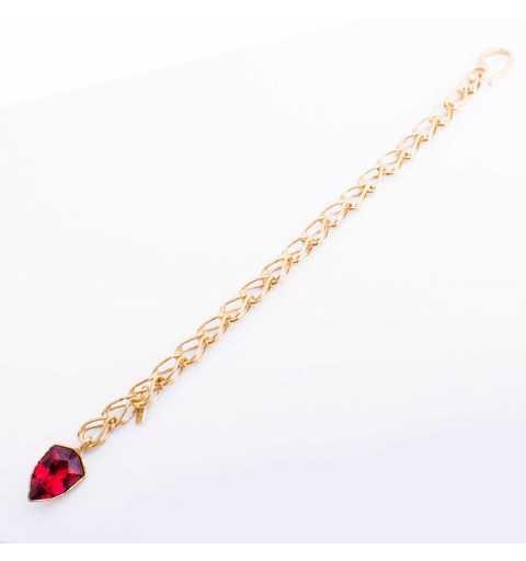 Srebrna bransoletka MOTYLE złocona królewskim 24karatowym złotem z czerwonym Kryształem Swarovskiego Scarlet MG3537