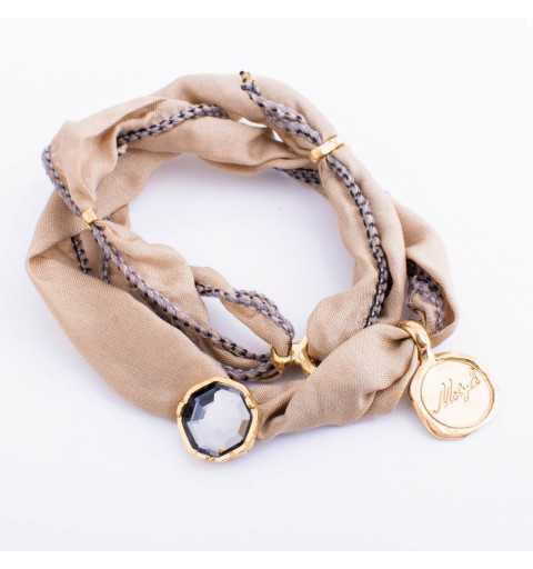 Srebrna bransoletka MOTYLE wykonana z naturalnego jedwabiu z Kryształem Swarovskiego Silver Night królewskie złoto 24 k MJG3073