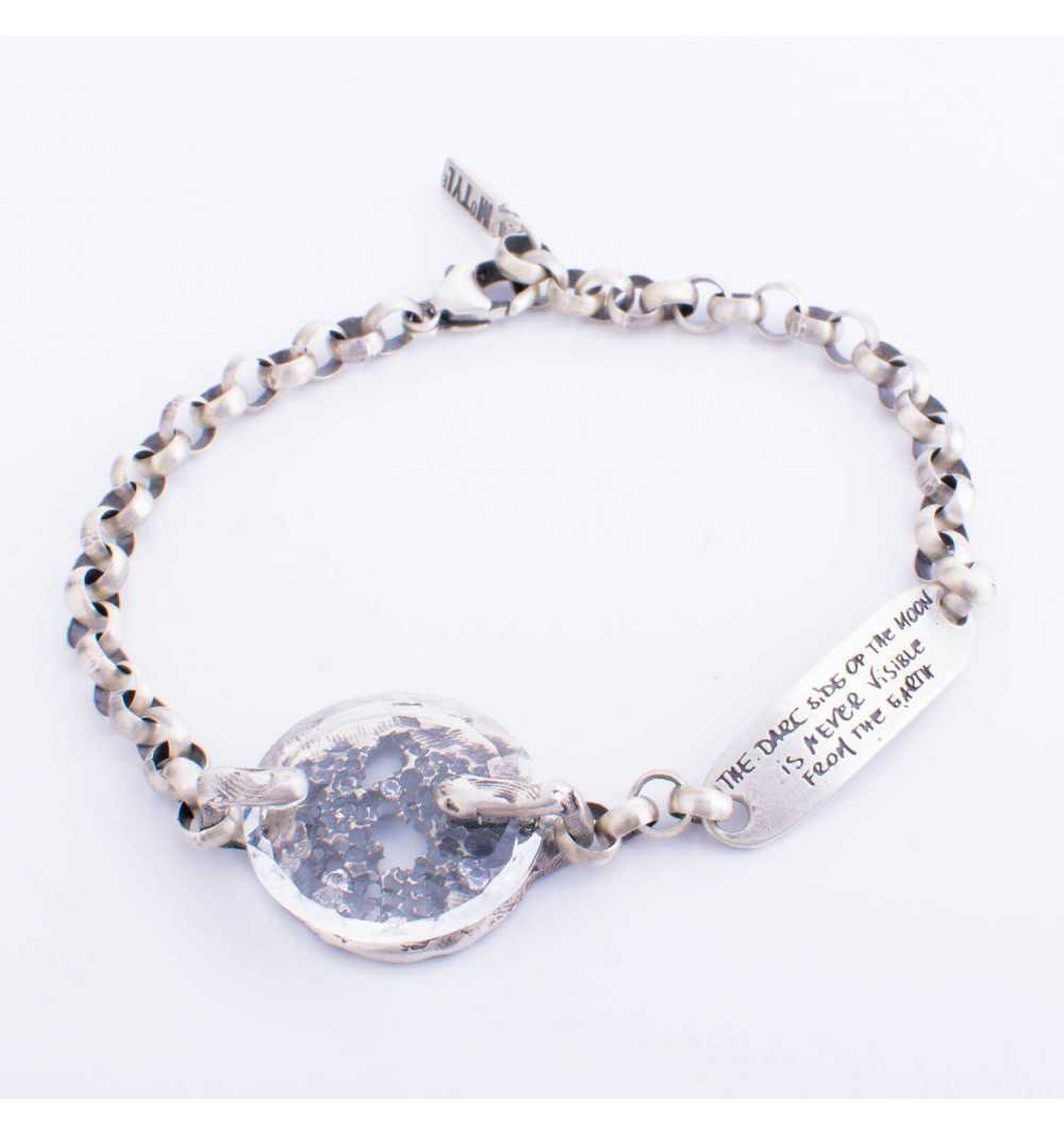 Srebrna bransoletka MOTYLE MS3534 w kolorze antycznego srebra z Kryształem Swarovskiego Crystal