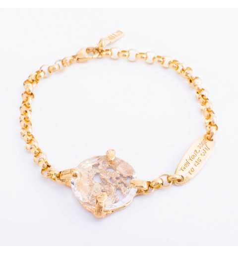 Srebrna bransoletka MOTYLE MG3534 złocona królewskim 24karatowym złotem z Kryształem Swarovskiego Crystal
