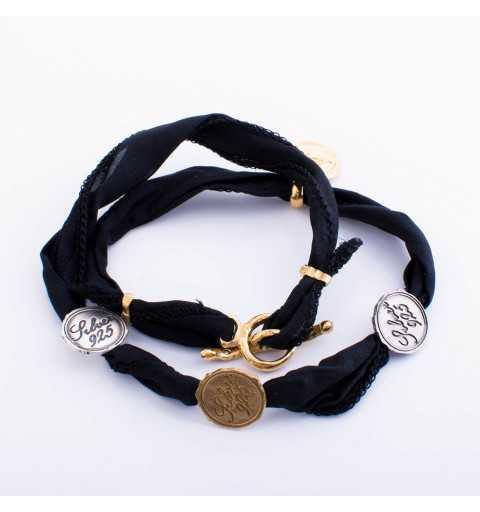 Srebrna bransoletka MOTYLE z monetami wykonana z naturalnego jedwabiu w kolorze czarnym MIX3021