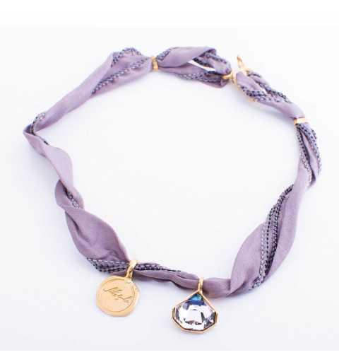 Srebrna bransoletka MOTYLE MJG3064 z naturalnego jedwabiu ze srebrnymi elementami złoconymi 24 karatowym złotem