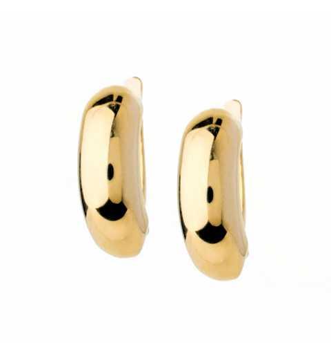Złote kolczyki półokrągłe blaszki z angielskim zapięciem