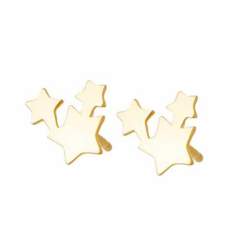 Złote kolczyki gwiazdki na sztyfty