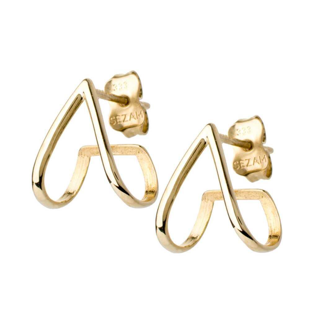Oryginalne złote kolczyki trójkąty wygięte pod ucho