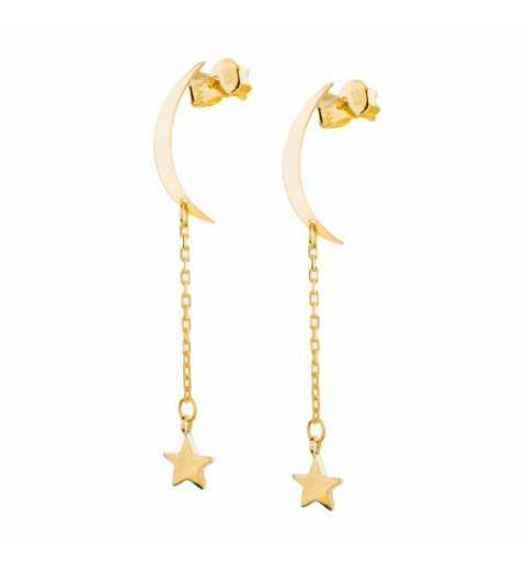 Złote kolczyki półksiężyc i wisząca gwiazdka