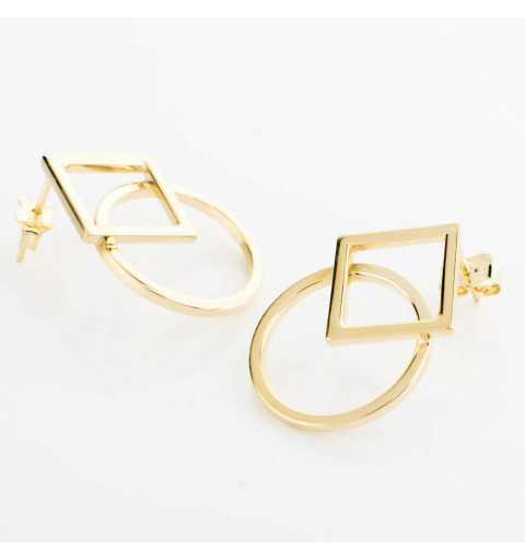 Geometryczne złote kolczyki kółko kwadrat
