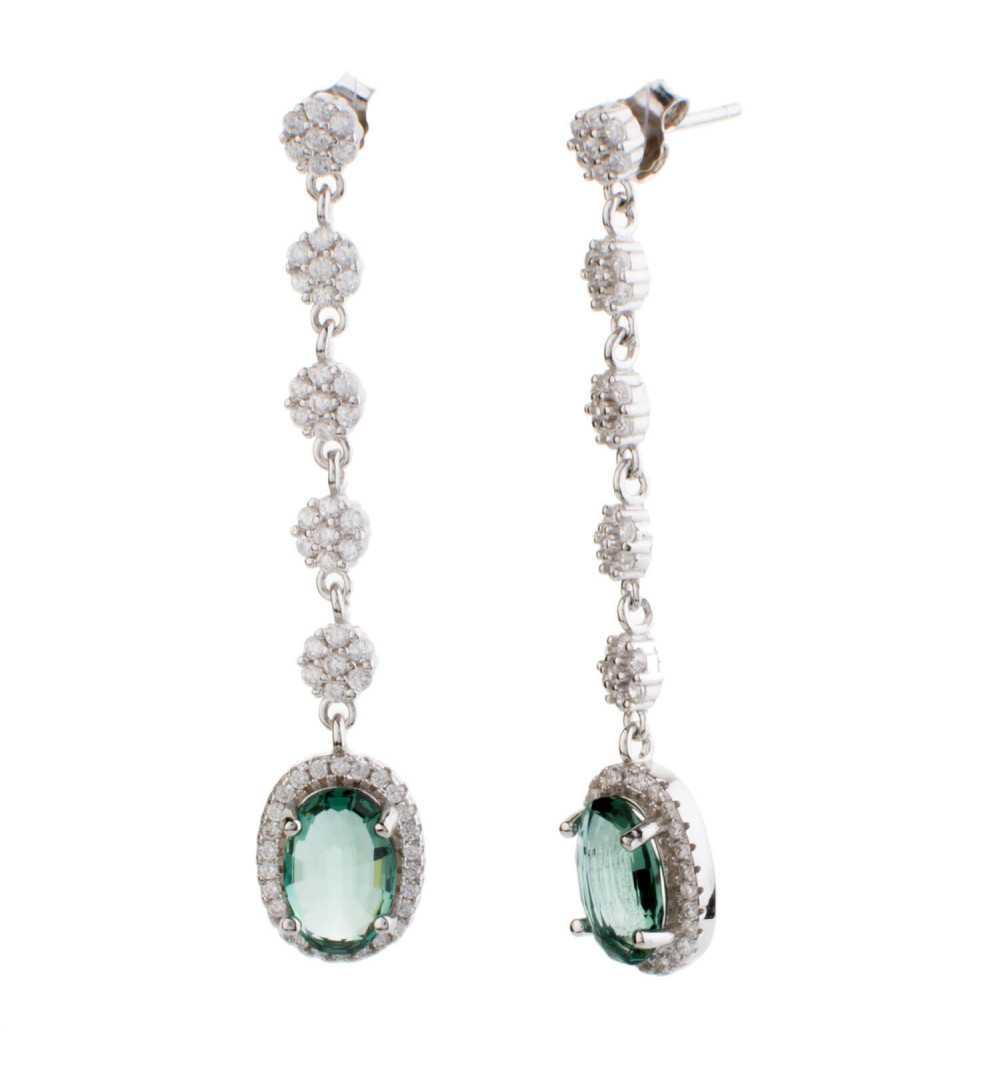 Eleganckie długie kolczyki zielony kamień srebro 925