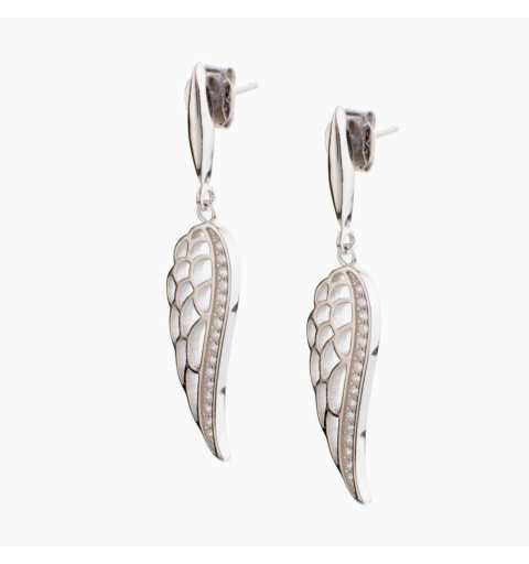 Srebrne kolczyki skrzydła z cyrkoniami