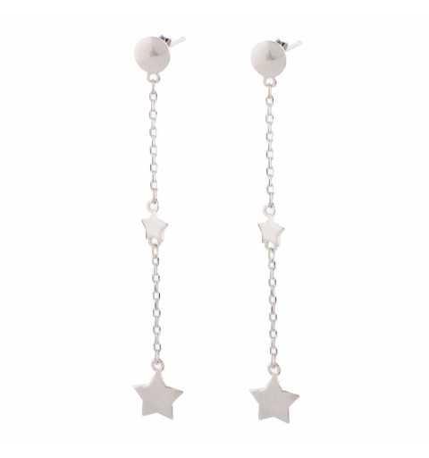 Srebrne kolczyki gwiazdki na łańcuszku