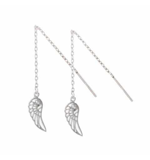 Przeciągane srebrne kolczyki skrzydełka