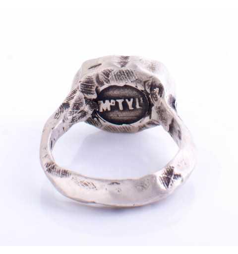 Srebrny pierścionek MOTYLE w kolorze antycznego srebra z zielonym Kryształem Swarovskiego Emerald MS5521